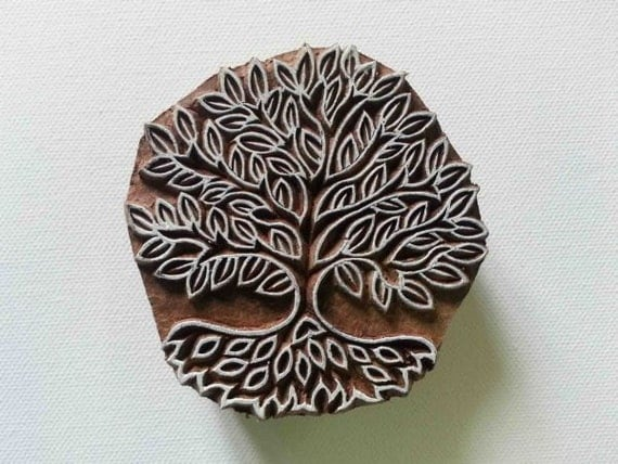 Tree stamp indian style hand carved wood block printing