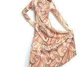 Vintage 60s Maxi Dress / paisley / floor length / high neck / statement- free shipping