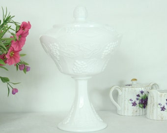 White Glass Footed Fruit Bowl with Lid, Milk Glass, Vintage, Harvest Pattern