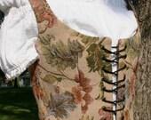 Renaissance Vest - Size 8 - Reversible - Tan Leaf Floral Tapestry/Brown Cotton Duck