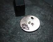 "Handmade Stamped ""Om"" Copper Pocket Coin Charm W/ Lotus Flower/Water Lily. Motivation/Inspiration Mantra, Meditation/Mindfulness, Yoga, Mala"