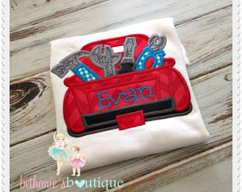 Tool truck shirt - tool themed shirt for boys - personalized shirt - custom embroidered shirt - red truck shirt with tools