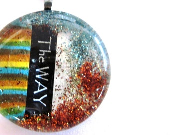 Art Pendant, Necklace, Christian gift, Glass Cabochon, Scripture, glass Gem, wedding keepsake souvenirs,