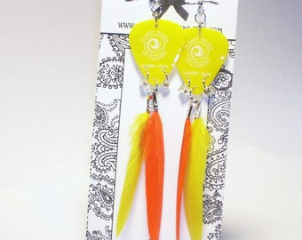 Long Orange and Yellow Feather Guitar Pick Earrings