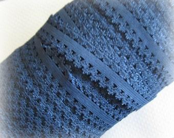 "Dark Blue Picot Elastic. 7/8"" Dark Blue Picot Elastic.  5 Yards.   Ingrid Lace"