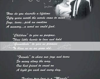 Custom Order for Carolyn and Paul.  Do Not Purchase unless you are Carolyn and Paul.  50th Anniv Poem