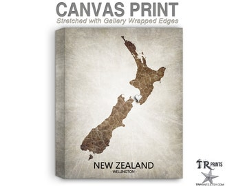New Zealand Map Stretched Canvas Print - Home Is Where The Heart Is Love Map - Original Personalized Map Print on Canvas
