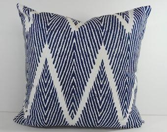 Blue Chevron Decorative Pillow Cover, Throw Pillow Cover, Zigzag Cushion,  18 x 18