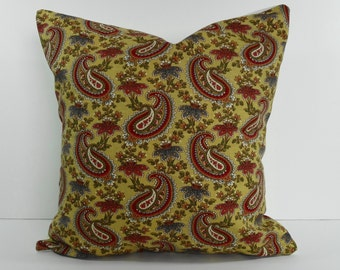 Paisley Decorative Throw Pillow Cover, Butterscotch, Gold, Cushion Cover, 16x16