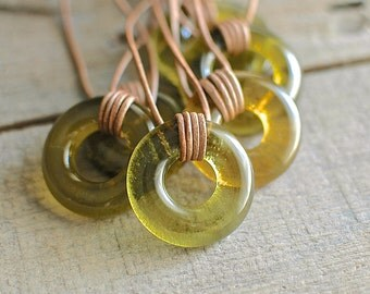 Amber Wine Glass Leather Necklace | Recycled Wine Bottle Jewelry