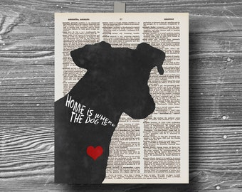 book page typography animal canine home is where the dog is silhouette quote art print poster 8x10 home decor