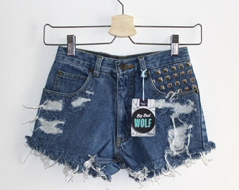 Denim Cutoff Shorts - Slashed, Frayed and Studded Denim Shorts