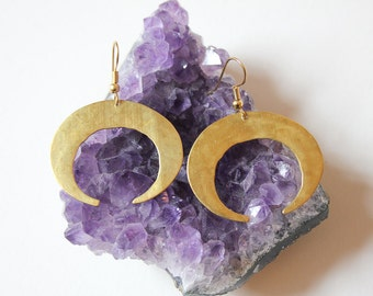 Crescent Moon Earrings - Geometric Modern Crescent Earrings