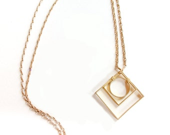 Geometric Necklace on Long Chain - Geo Deco Necklace Inspired by Sacred Geometry and Art Deco Design