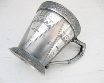 Victorian Triple Plate Mug, 1876, Aesthetic Movement
