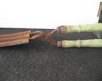 Vintage Hair Styling Salon Tool Curling Waving Iron Wood Handles Stove Heat