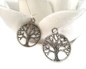 Silver Pewter Tree Of Life Earrings
