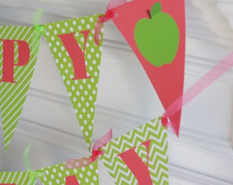 Happy Birthday Pennant Flag Green Hot Pink Apple Fall Theme Banner - Ask About Our Party Pack Specials