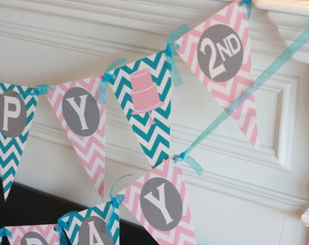 Happy Birthday Pennant Flag Light Pink & Turquoise Blue Cake Theme Chevron Banner- Ask About Our Party Pack Specials
