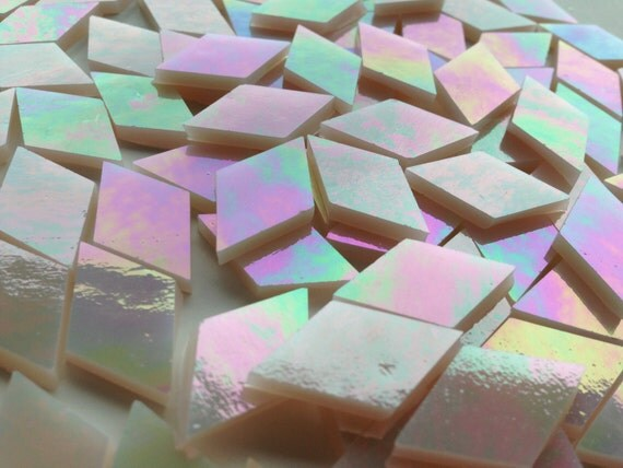 Mosaic Tiles - 100 Small Diamonds - Iridescent Champagne Stained Glass - Hand-Cut