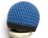 Boy Beanie Hat, Denim Blue with Charcoal Grey Edge Detail, Newborn to 5T-Preteen - MADE TO ORDER