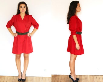 Red wool dress M / robe laine rouge M
