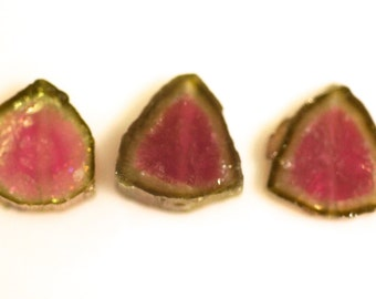 Tourmaline slices 22.5 carats , 12-13mm x 3 mm, drilled