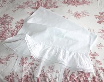 Antique white cotton bolster case