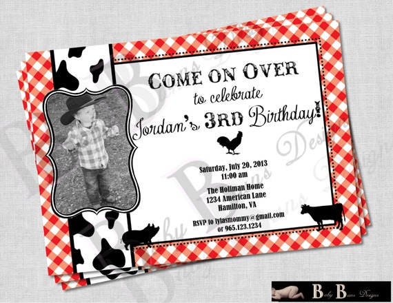 Farm birthday invitation- black & red