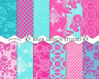 Pink Floral Digital Paper, Teal and Pink Digital Paper, Turquoise and Hot Pink Digital Paper, Bohemian Digital Paper, Papier Scrapbook