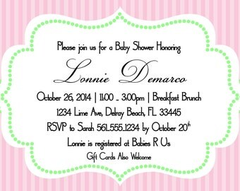 Pink and Lime Green Baby Shower Invitation Template 4x6