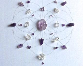 PEACEFUL SPACE --- framed sacred crystal grid --- amethyst, clear quartz