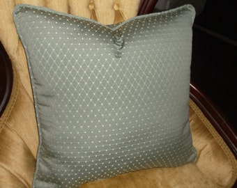 Piping Trim Soft Aqua Accent Pillows, Small Pattern With Piping Trim Made From The Pillow Fabric - Cream Diamond Pattern -  by Pillowinno