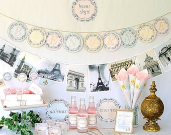 Parisian Printable Party Kit, French, Instant Download Files
