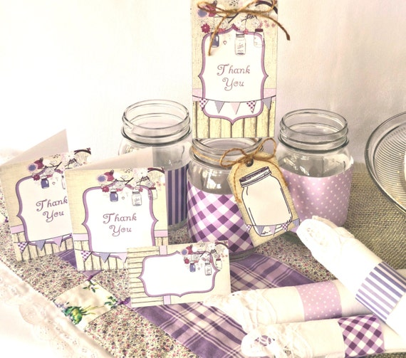 Rustic Purple Mason Jar Printable Party Kit Wedding Birthday Instant Download