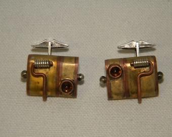 Steampunk flash drive cuff links