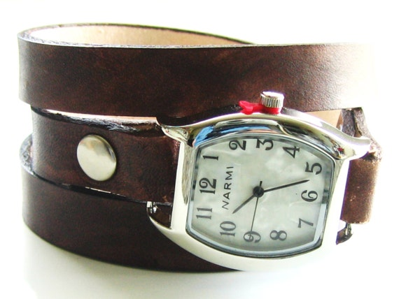Leather Watch Wrap Bracelet - Made to Order - Distressed Walnut Brown - Leave Me Your Wrist Measurement-Love That Leather