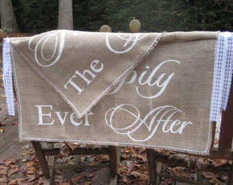 Here Comes The Bride, Happily Ever After, Burlap Banner, Burlap Wedding, Rustic Wedding, 2 layer banner, Burlap and Lace, XL Burlap Banner