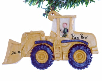 Front loader personalized Christmas ornament - boys construction ornament - loader ornament personalized free
