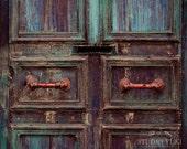 Rustic Door Photography, Urban Decay, Ethnic, Old Door, Weathered, Travel Photography, Home Decor, Vintage, Antique Door, Handles, Wall Art