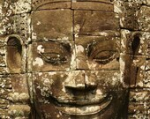 Cambodia Travel Photography, Smiling Face, Bayon Temple, Brown, Travel, Ethnic, Carved in Stone, Zen, Spiritual, Love - Neverending Smile