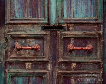 Rustic Door Photography, Urban Decay, Ethnic, Old Door, Weathered, Travel Photography, Home Decor, Vintage, Antique Door, Handles, Wall Art