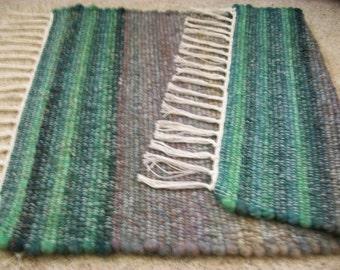 woven rag rug ombre blue green multicolor glitter alpaca wool  South Dakota made