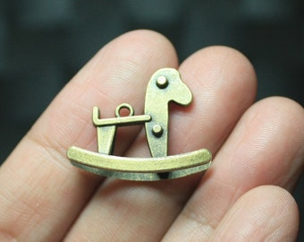 3 Rocking Horse Charms Antique Bronze Tone 3D Great Detail