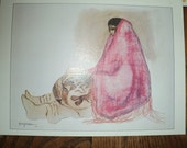 RC GORMAN PRINT, A Southwestern Style lithographic print of an Indian Woman in Pink Shawl holding a piece of Native American Pottery