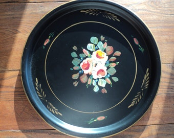Vintage Hand Painted Floral Tole Style  Serving Tray, Larger Sized  Black Enamel Tray with Gold Looking Trim in Very Good Vintage Condition