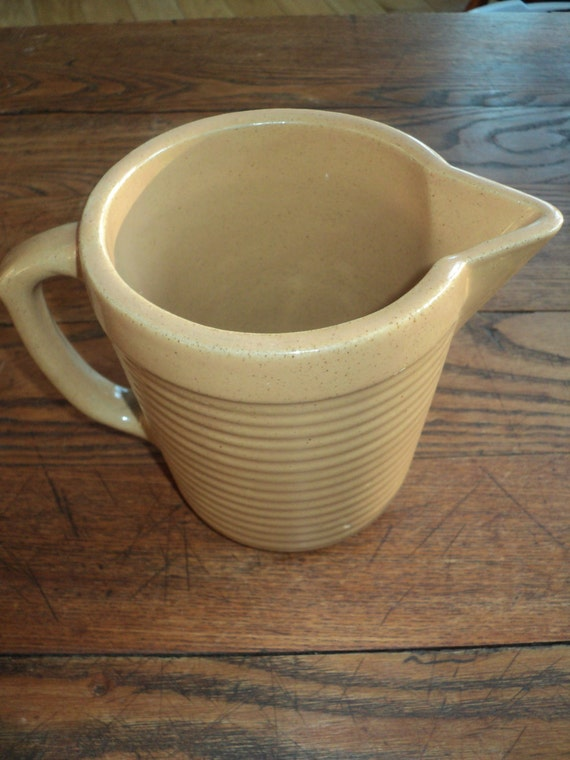 Vintage Monmouth Ceramic Pitcher, Authentic  Rustic Americana Style Tan Ceramic Pitcher made by the Monmouth USA Potter y Company