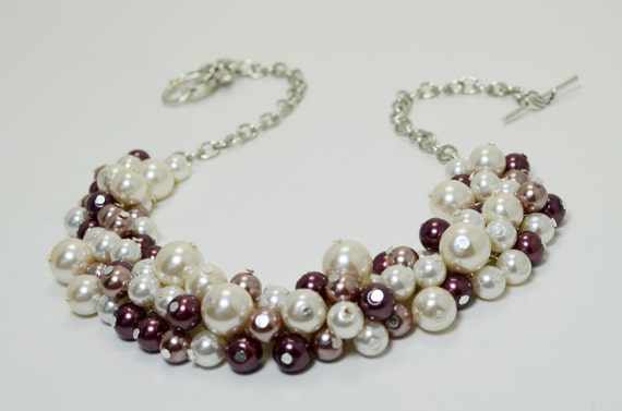Pearl Cluster Necklace, Ivory, Vintage Rose and Marsala Pearl Necklace, Chunky Necklace, Marsala Pearl Jewelry, Ivory Wedding Necklace