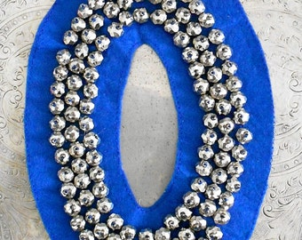 Electric Blue Silver Beaded Appliques