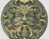 Green Man Cross Stitch PDF Chart  Pattern Celtic Pagan Wicca Wiccan Spiritual Forest Guardian Design Stitching Free Pattern Included